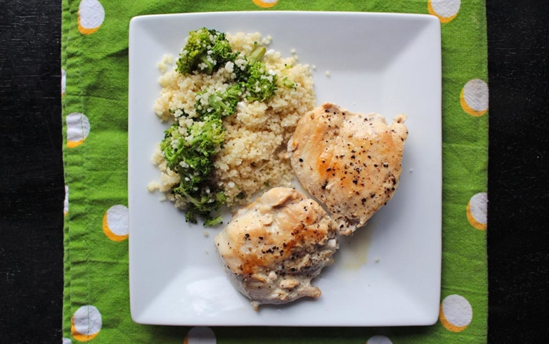 Chicken with Broccoli Feta Couscous