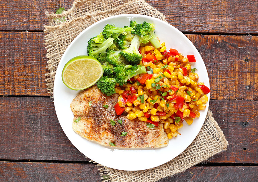 Spiced Baked Cod with Chili Lime Corn Recipe