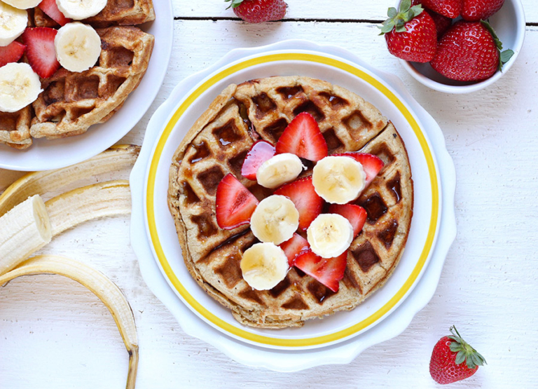 Strawberry Banana Greek Yogurt Waffles
