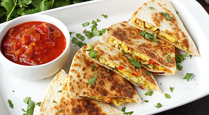 Egg and Veggie Breakfast Quesadillas