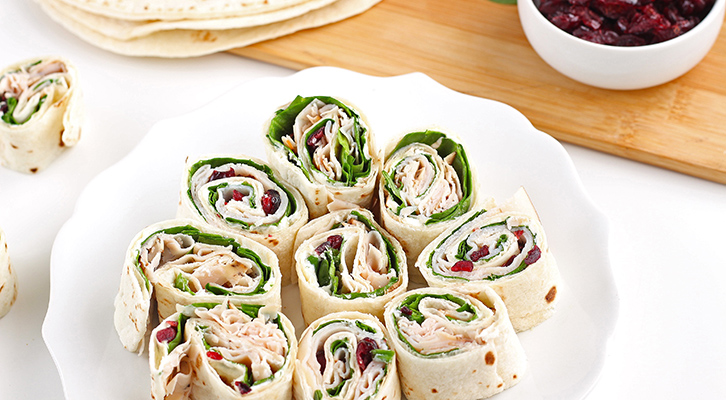 Turkey, Spinach and Cranberry Pinwheels
