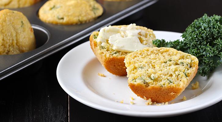 Kale Cornbread Muffins
