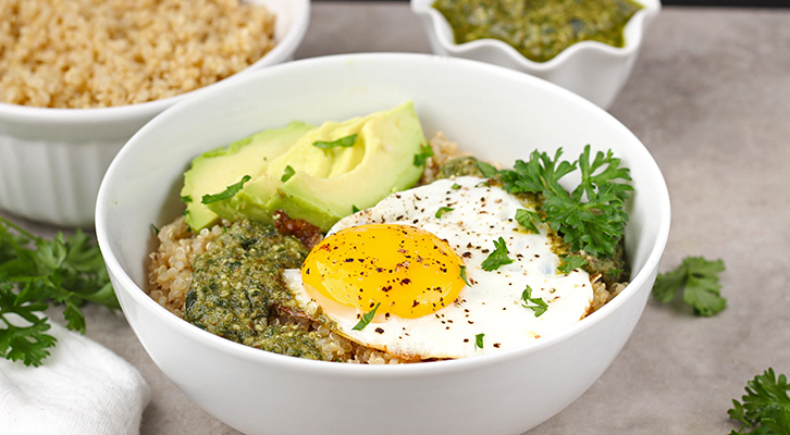 Pesto and Egg Quinoa Breakfast Bowl