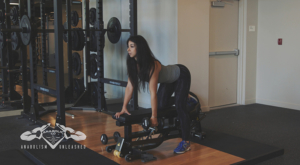 single arm db row - dumbbell bent over row - shoulder width - starting position