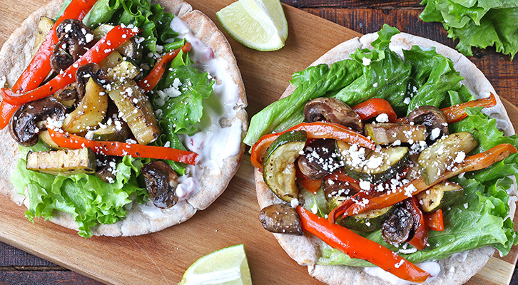 Roasted Vegetable Pita with Chipotle Sauce
