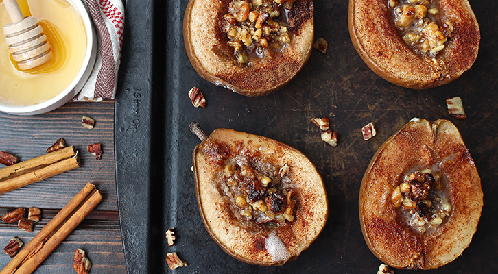 Cinnamon Baked Pears with Honey