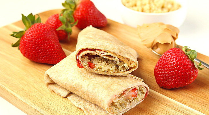 PB&J Quinoa Breakfast Wrap