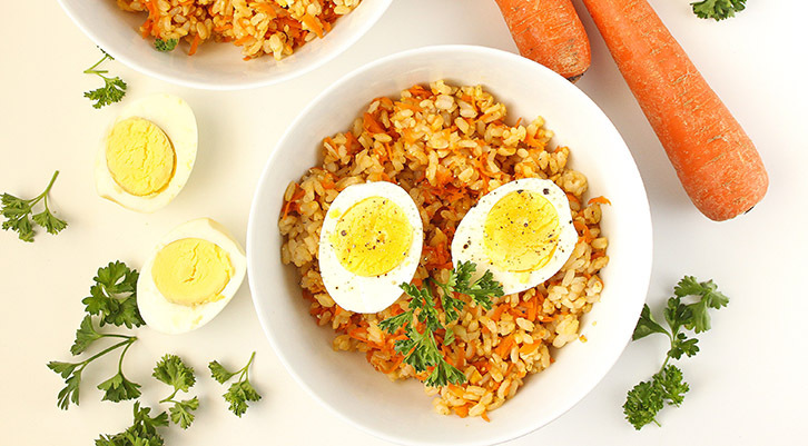 Sesame Carrot Rice with Hardboiled Eggs