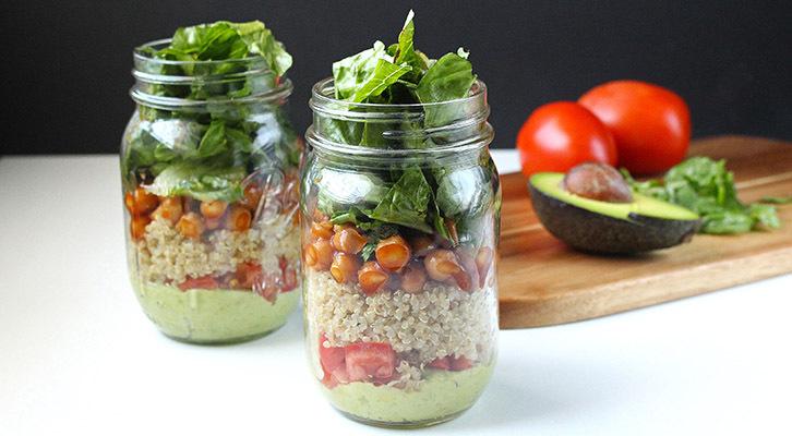 BBQ Chickpeas, Quinoa & Avocado Mason Jar Salad