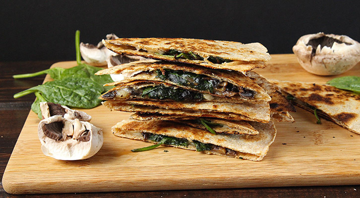 Spinach, Mushroom and White Bean Quesadillas