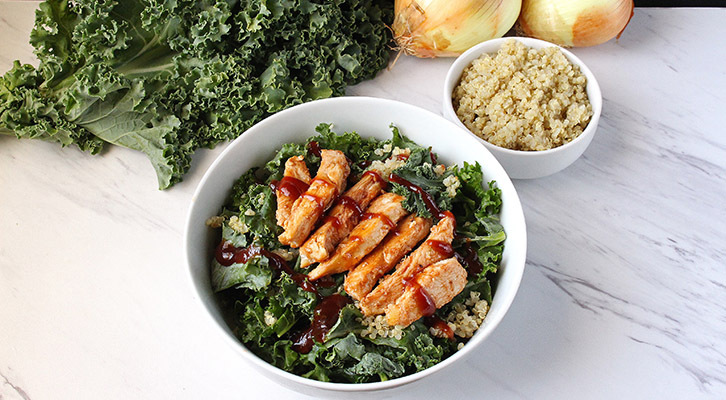 BBQ Chicken, Kale and Quinoa Salad with Caramelized Onions