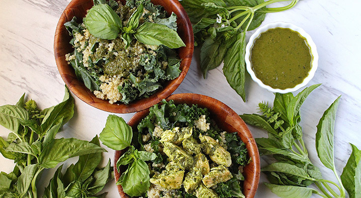 Basil Chicken, Kale and Quinoa Salad