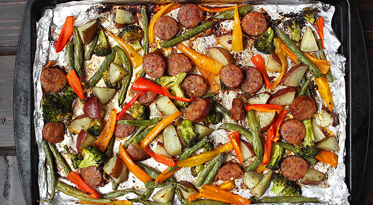 One Pan Roasted Sausage and Vegetables